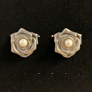Silver Rose Stud Earrings with Faux Pearls